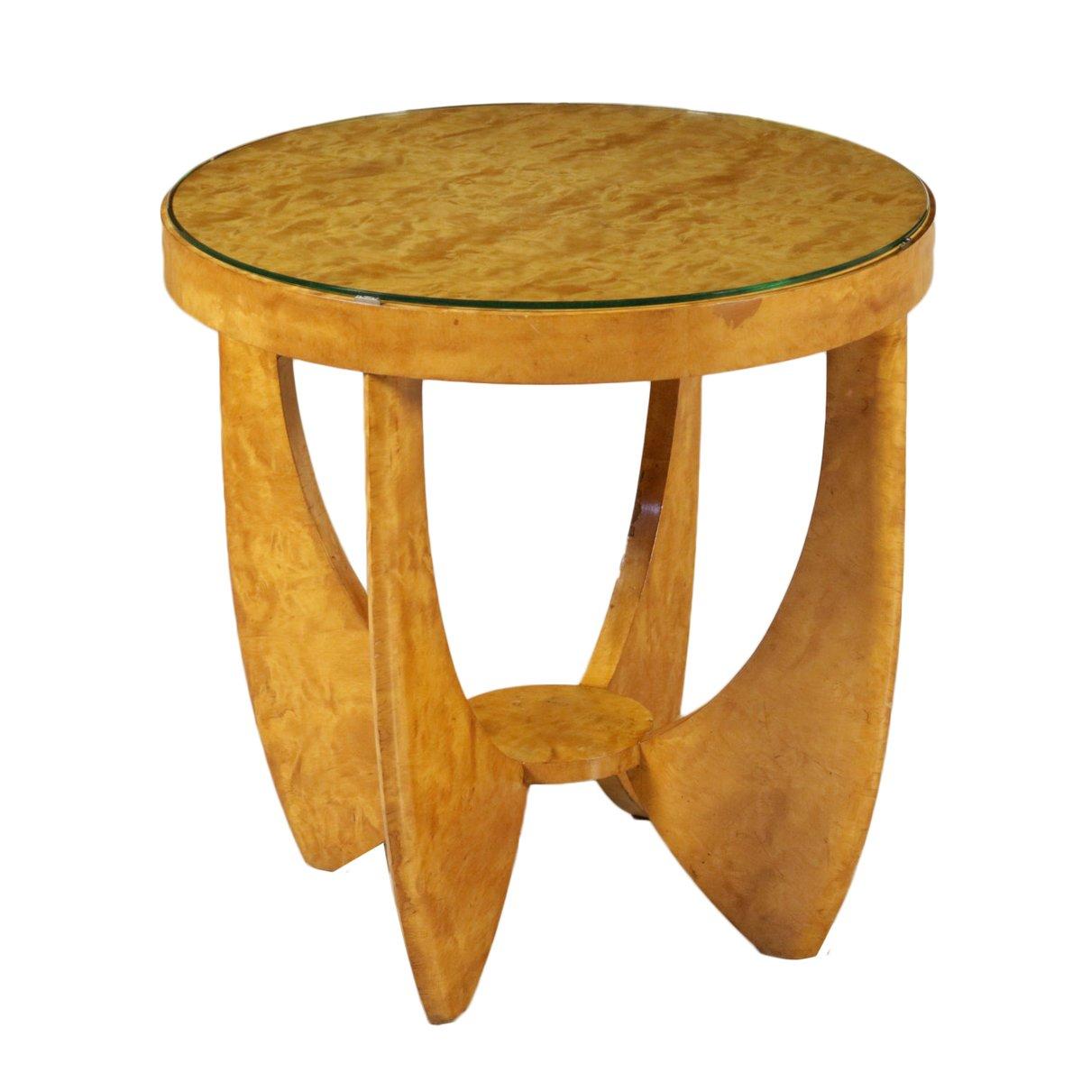 wurzelholz furnier couchtisch mit glasplatte 1930er bei pamono kaufen. Black Bedroom Furniture Sets. Home Design Ideas