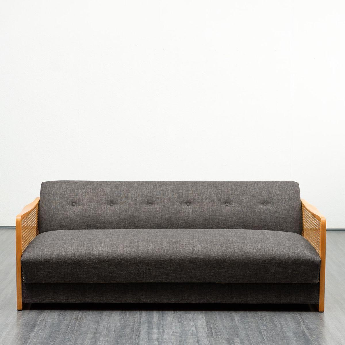 Sofa oder Tagesbett mit Wiener Geflecht, 1950er