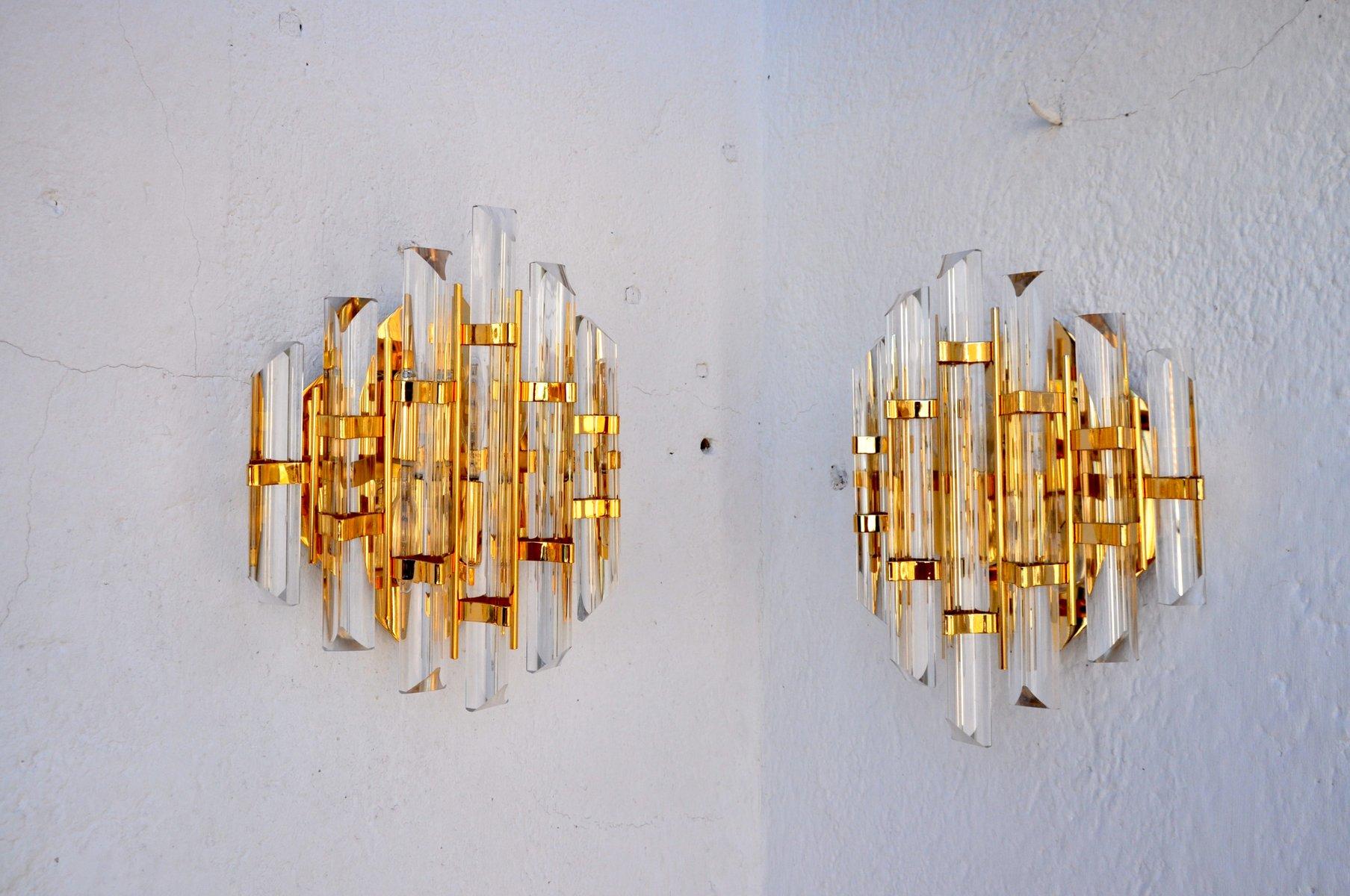 Murano Glas Wandleuchten von Paolo Venini, 1960er, 2er Set