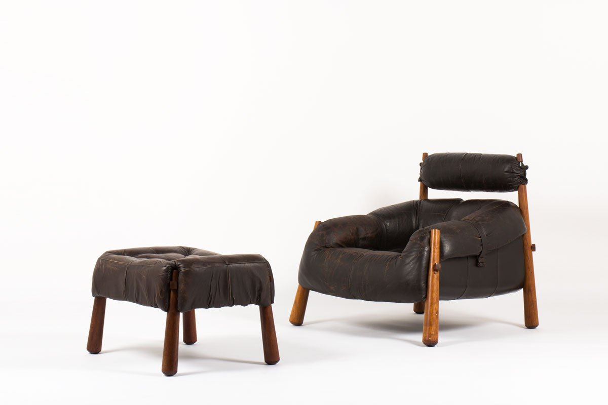 Mid-Century Sessel & Hocker von Percival Lafer