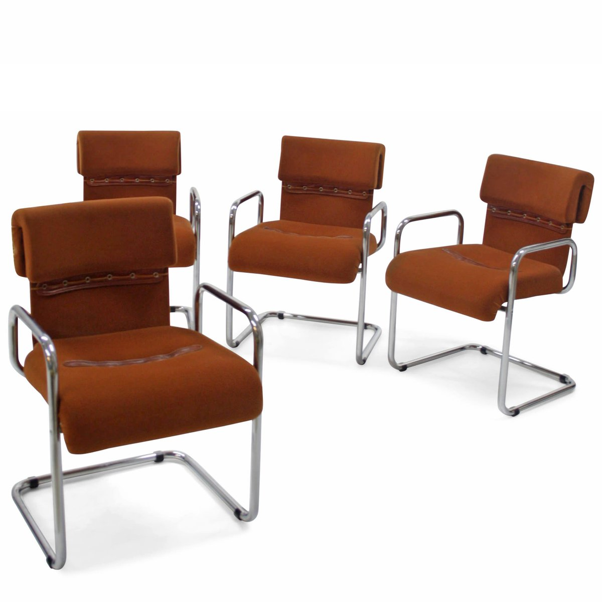 stahl textil st hle von guido faleschini f r mariani 1970er 4er set bei pamono kaufen. Black Bedroom Furniture Sets. Home Design Ideas