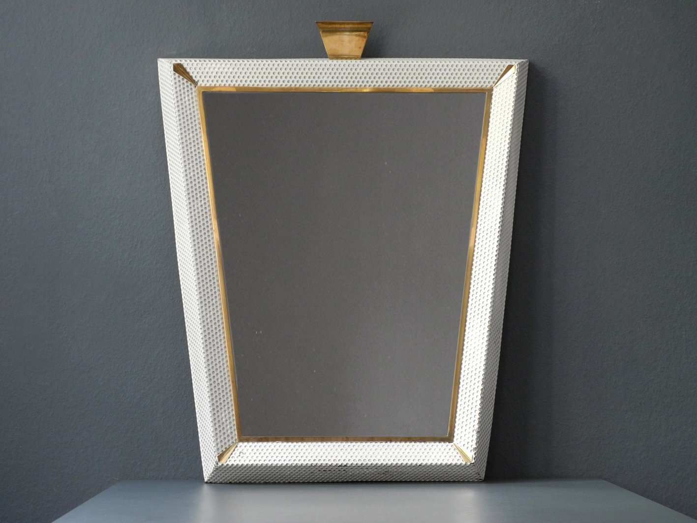 Large Mid Century Modern Illuminated Mirror With Perforated Metal Frame And Br Details