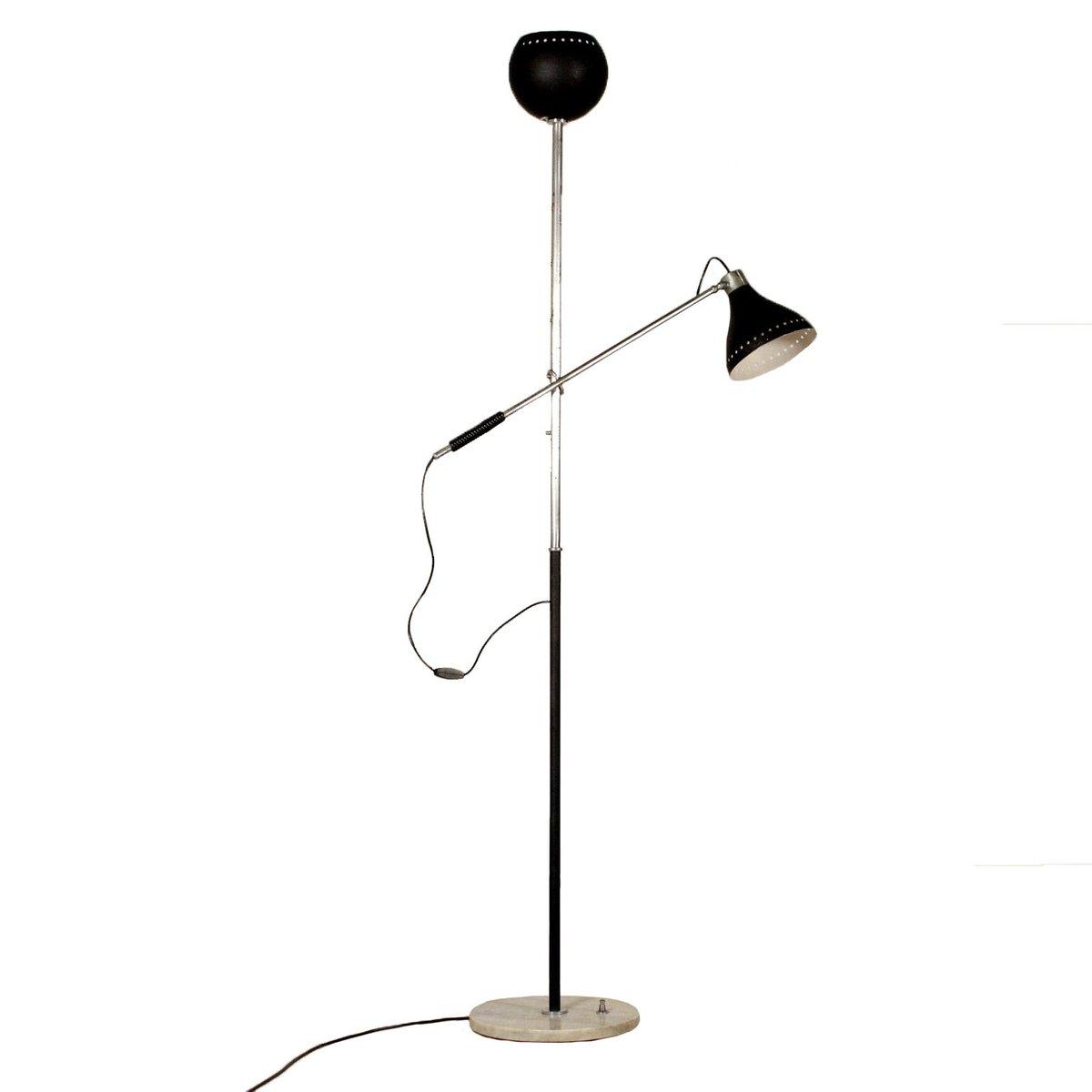 Italienische Chrom, Metall & Marmor Stehlampe, 1960er