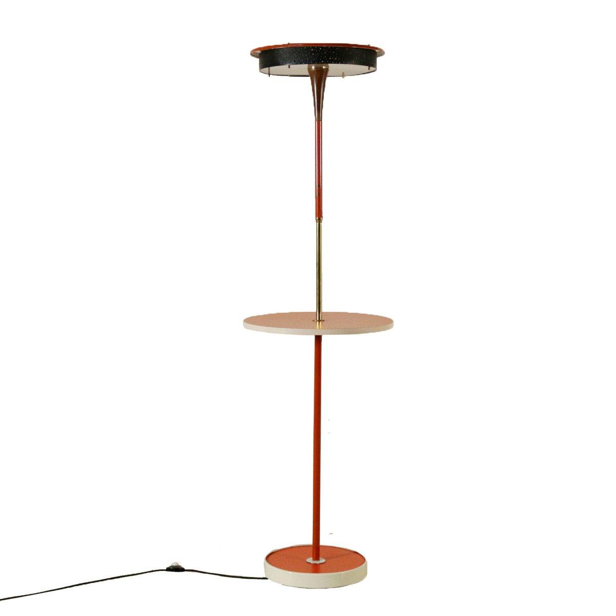 Italienische Metall, Messing & Plexiglas Tischlampe, 1960er