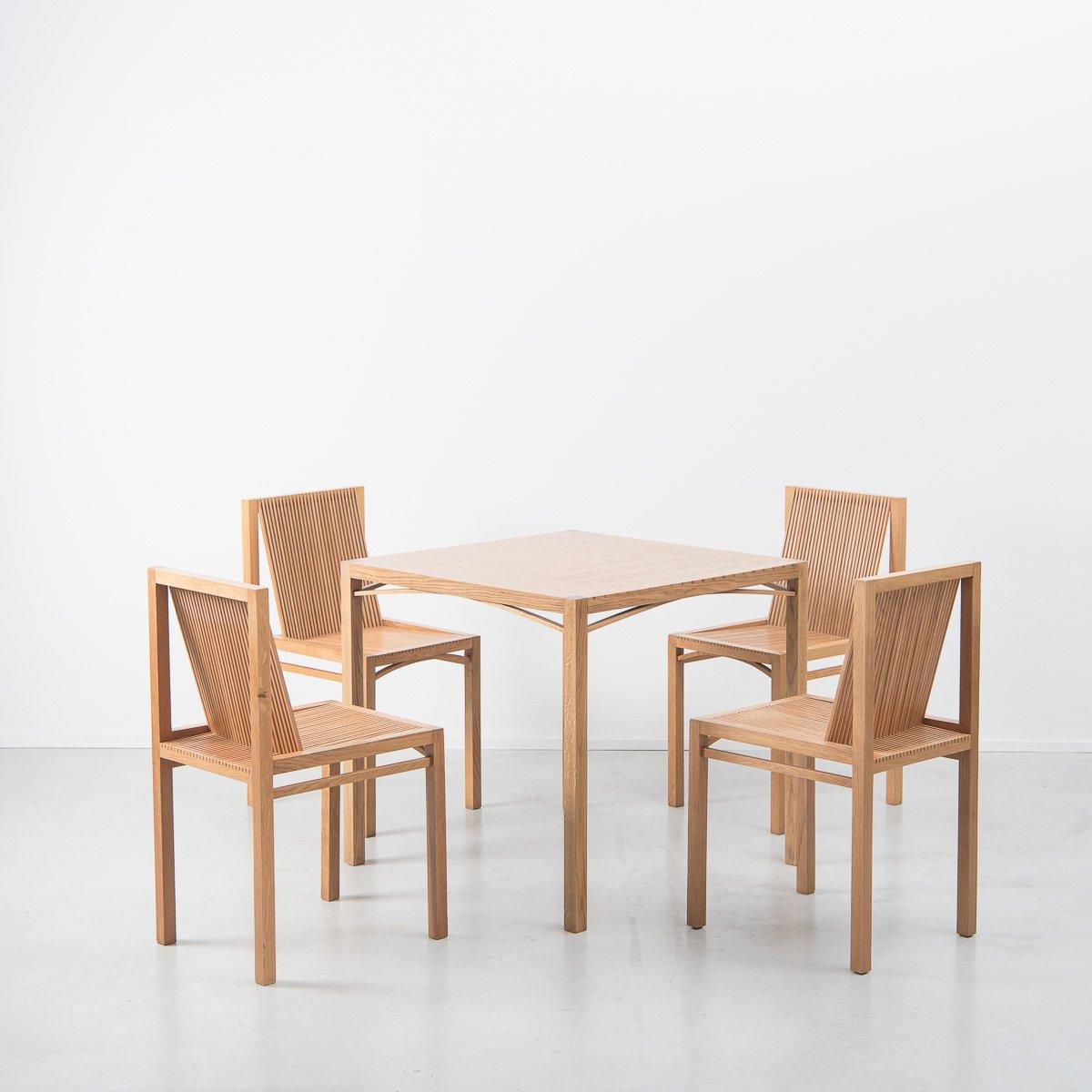 Niederländischer Esstisch & Stühle von Ruud Jan Kokke Latjes, 1984