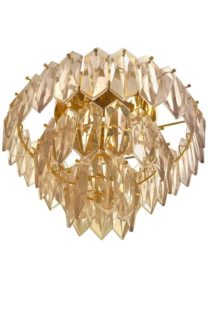 Glas Kronleuchter mit 3 Stufen und vergoldetem Rahmen von Kinkeldey ...