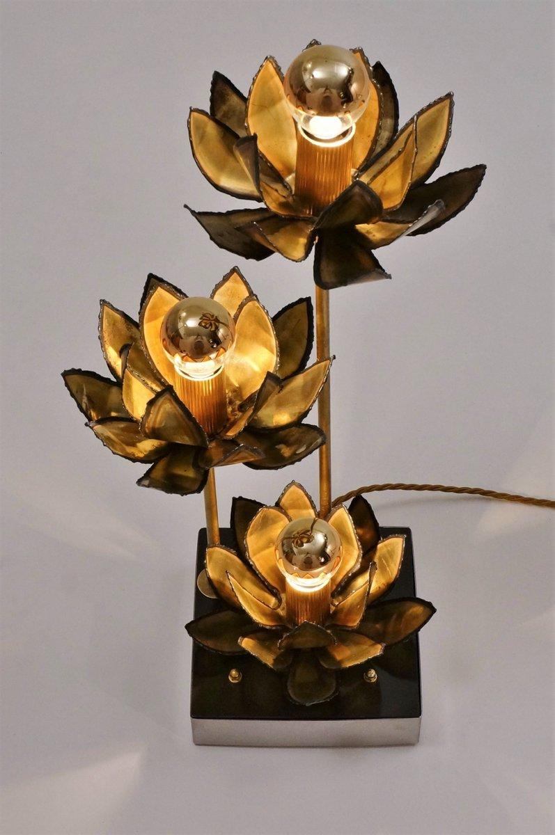 lampe de bureau fleur de lotus en laiton 1970s en vente sur pamono. Black Bedroom Furniture Sets. Home Design Ideas