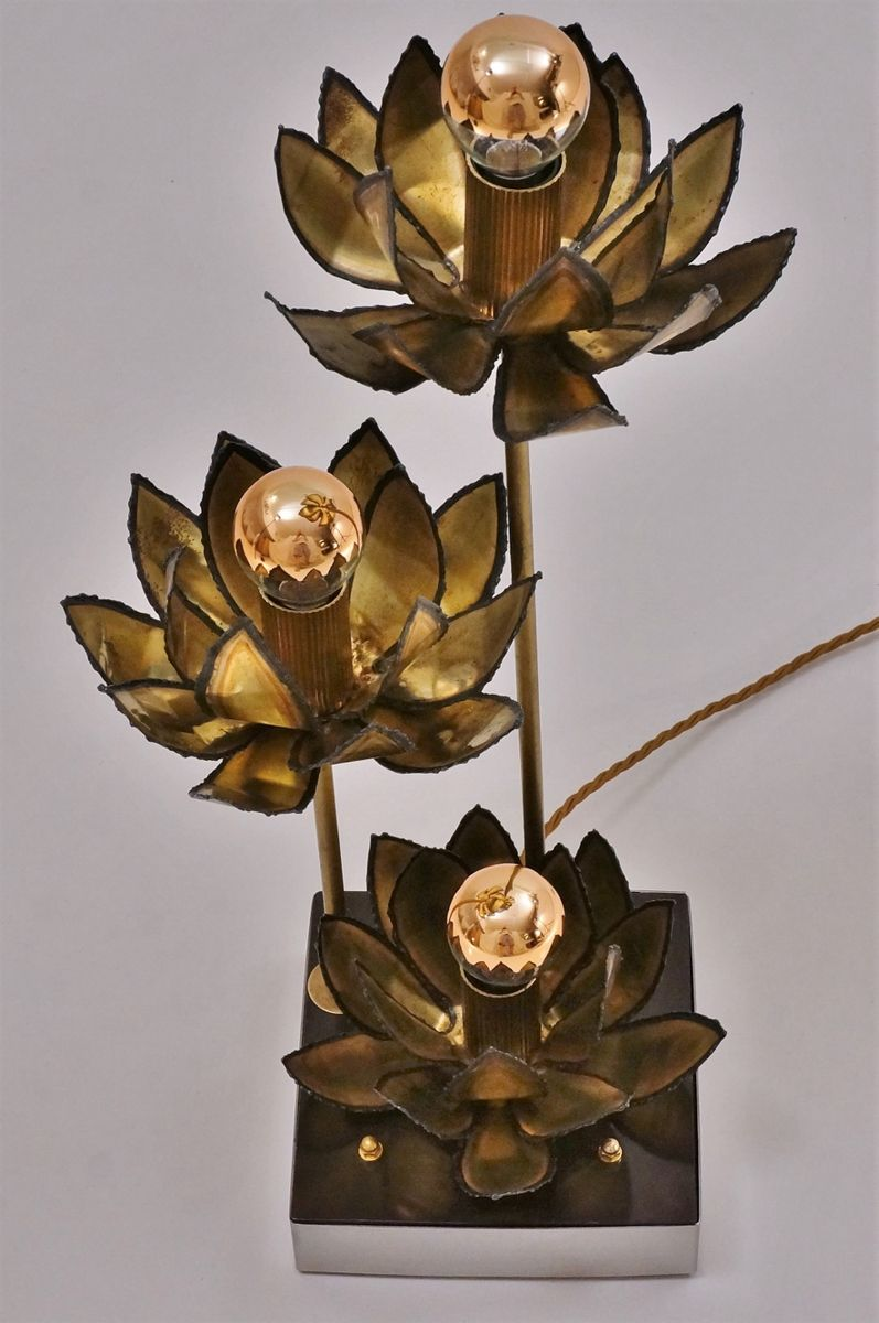 Lotus flower table lamp lamp design ideas french brass lotus flower table lamp 1970s for at pamono izmirmasajfo
