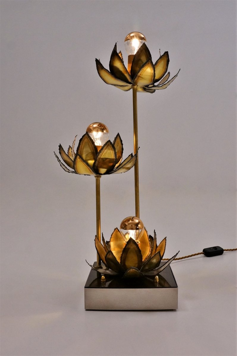 French brass lotus flower table lamp 1970s for sale at pamono french brass lotus flower table lamp 1970s izmirmasajfo