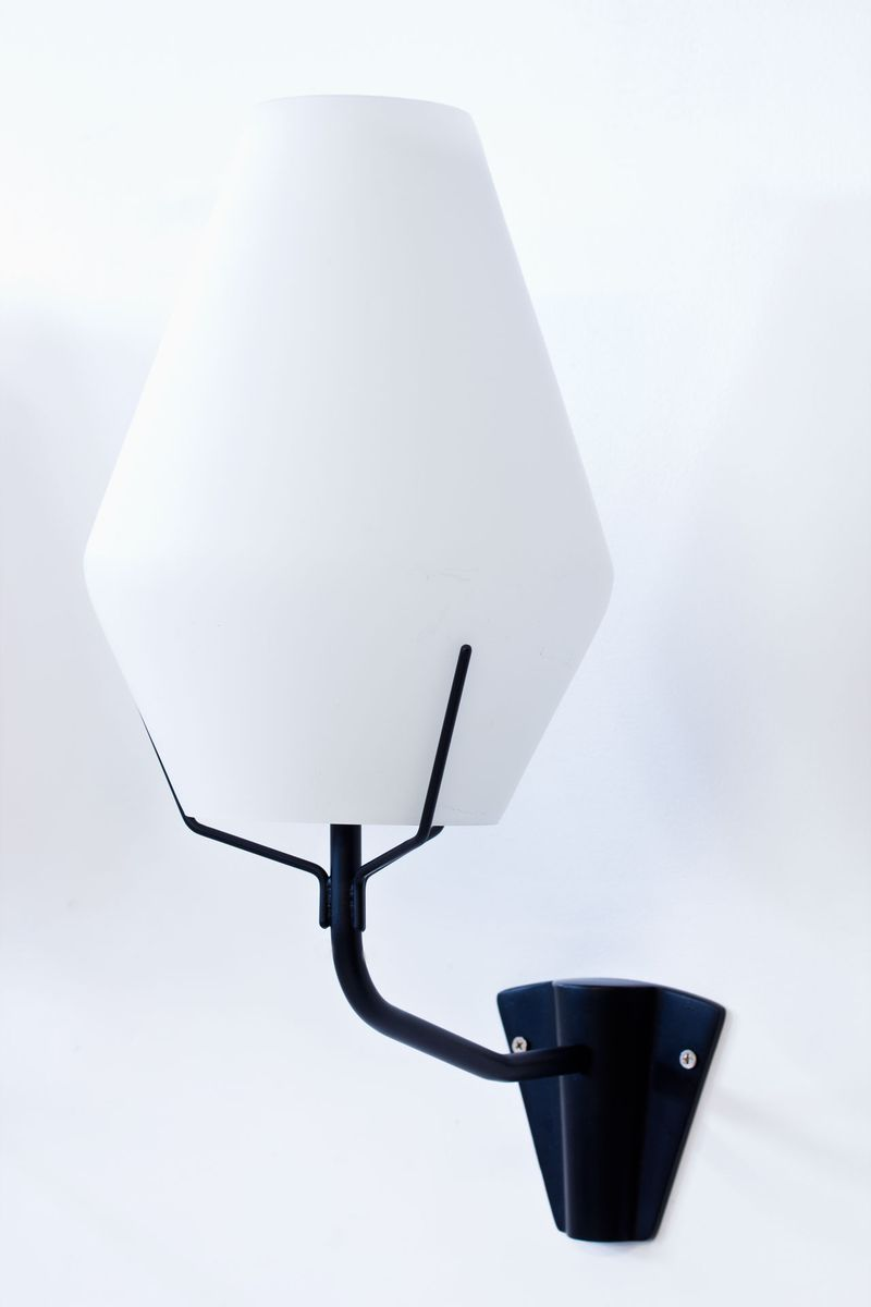 Opalglas & Metall Wandlampen von ASEA, 1950er, 2er Set