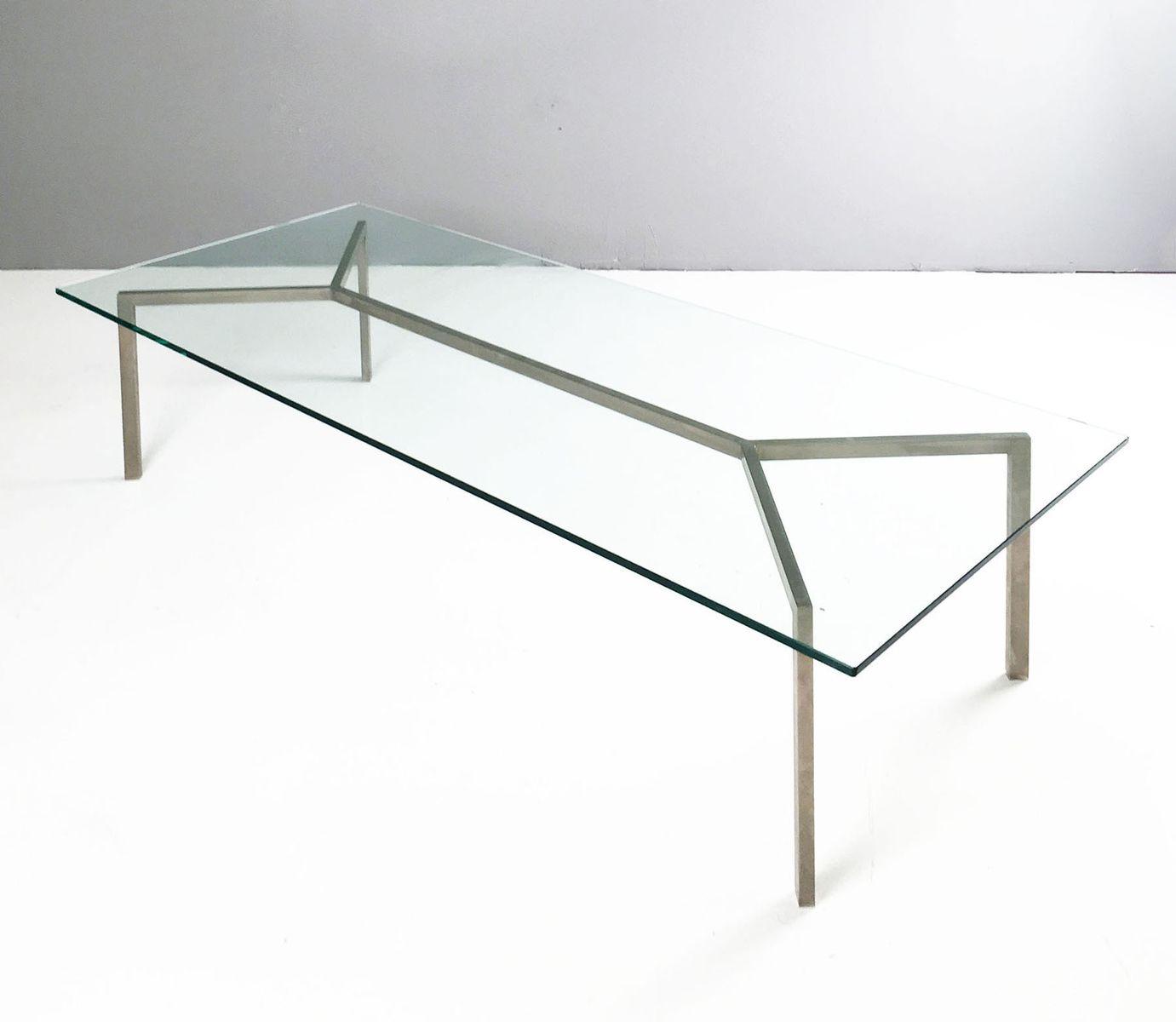 Minimalist Glass U0026 Chrome Coffee Table, 1960s