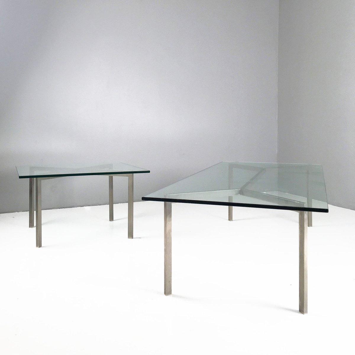 minimalistischer glas chrom couchtisch 1960er bei pamono kaufen. Black Bedroom Furniture Sets. Home Design Ideas