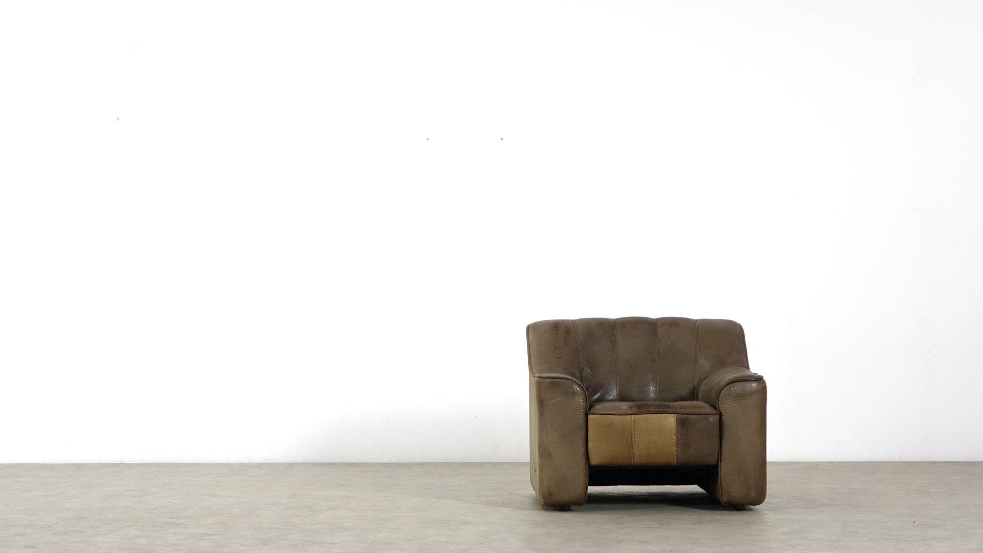 ausziehbarer ds 44 leder sessel von de sede 1970er bei pamono kaufen. Black Bedroom Furniture Sets. Home Design Ideas