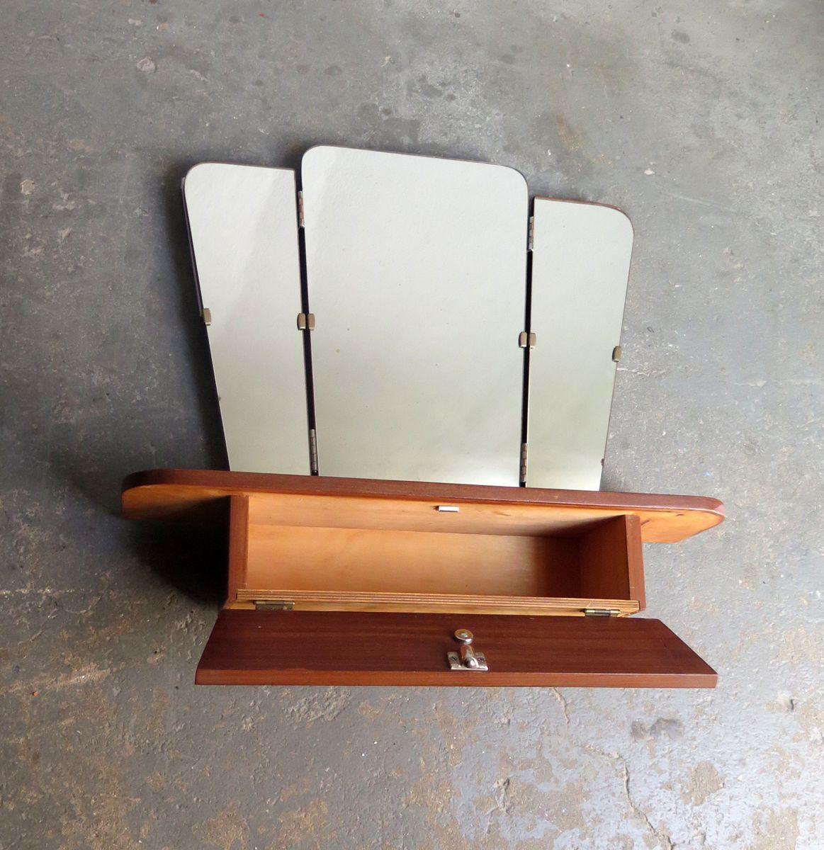 klappbarer spiegel mit regal und kleinem staufach 1950er bei pamono kaufen. Black Bedroom Furniture Sets. Home Design Ideas