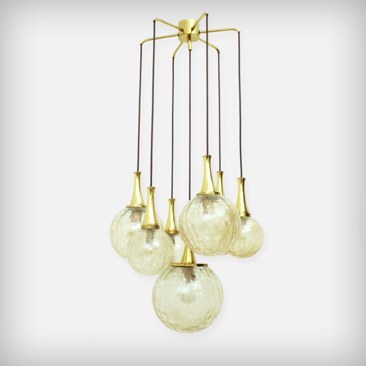 vergoldeter glas kronleuchter mit 7 armen von doria leuchten 1970er bei pamono kaufen. Black Bedroom Furniture Sets. Home Design Ideas