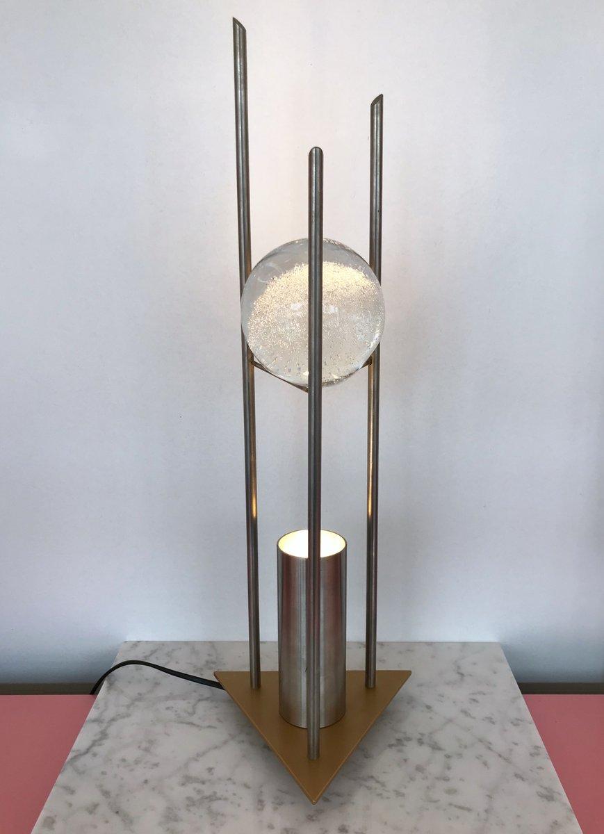 Deutsche Glaskugel Tischlampen von RW Manufaktur, 1980er, 2er Set