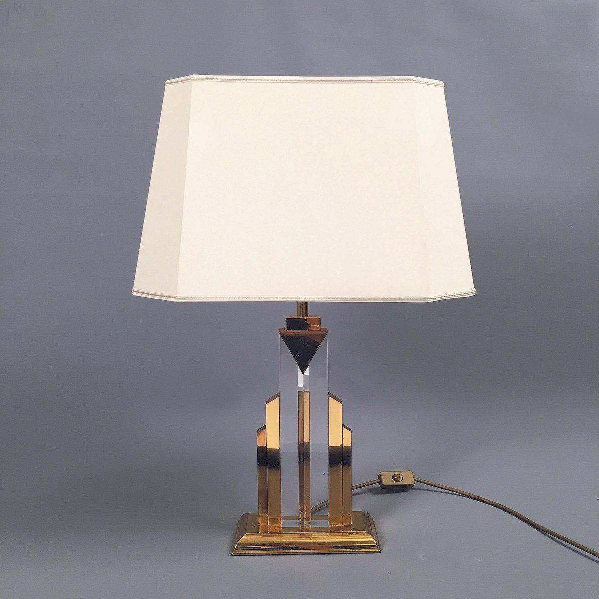 Messing & Plexiglas Tischlampe, 1970er