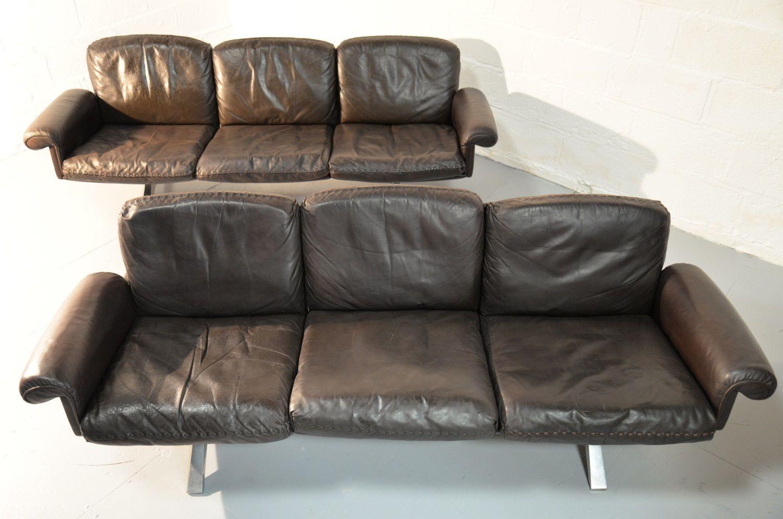 schweizer ds 31 3 sitzer sofas von de sede 1970er 2er set bei pamono kaufen. Black Bedroom Furniture Sets. Home Design Ideas