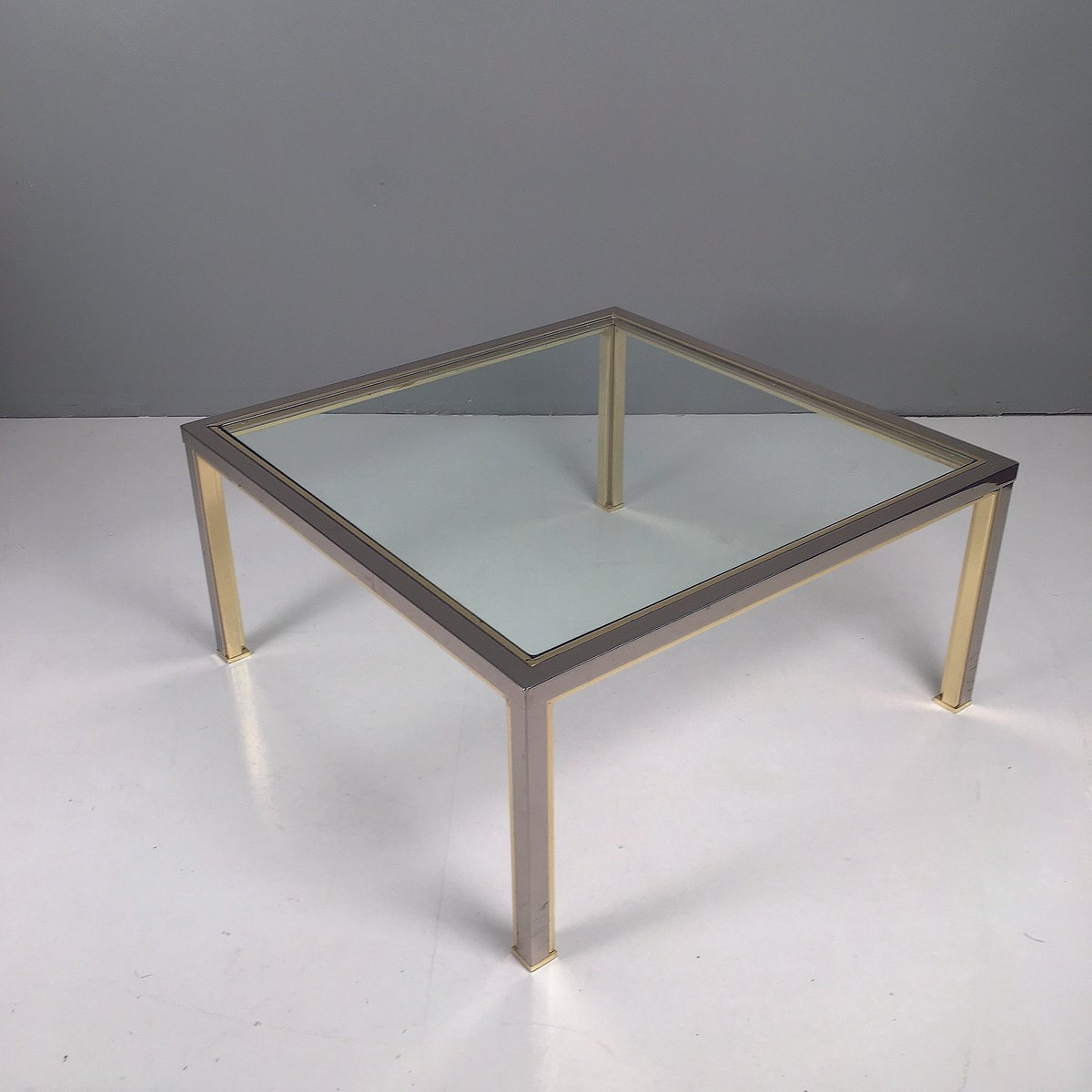 Brass Chrome Glass Coffee Tables 1970s Set Of 2 For Sale At Pamono