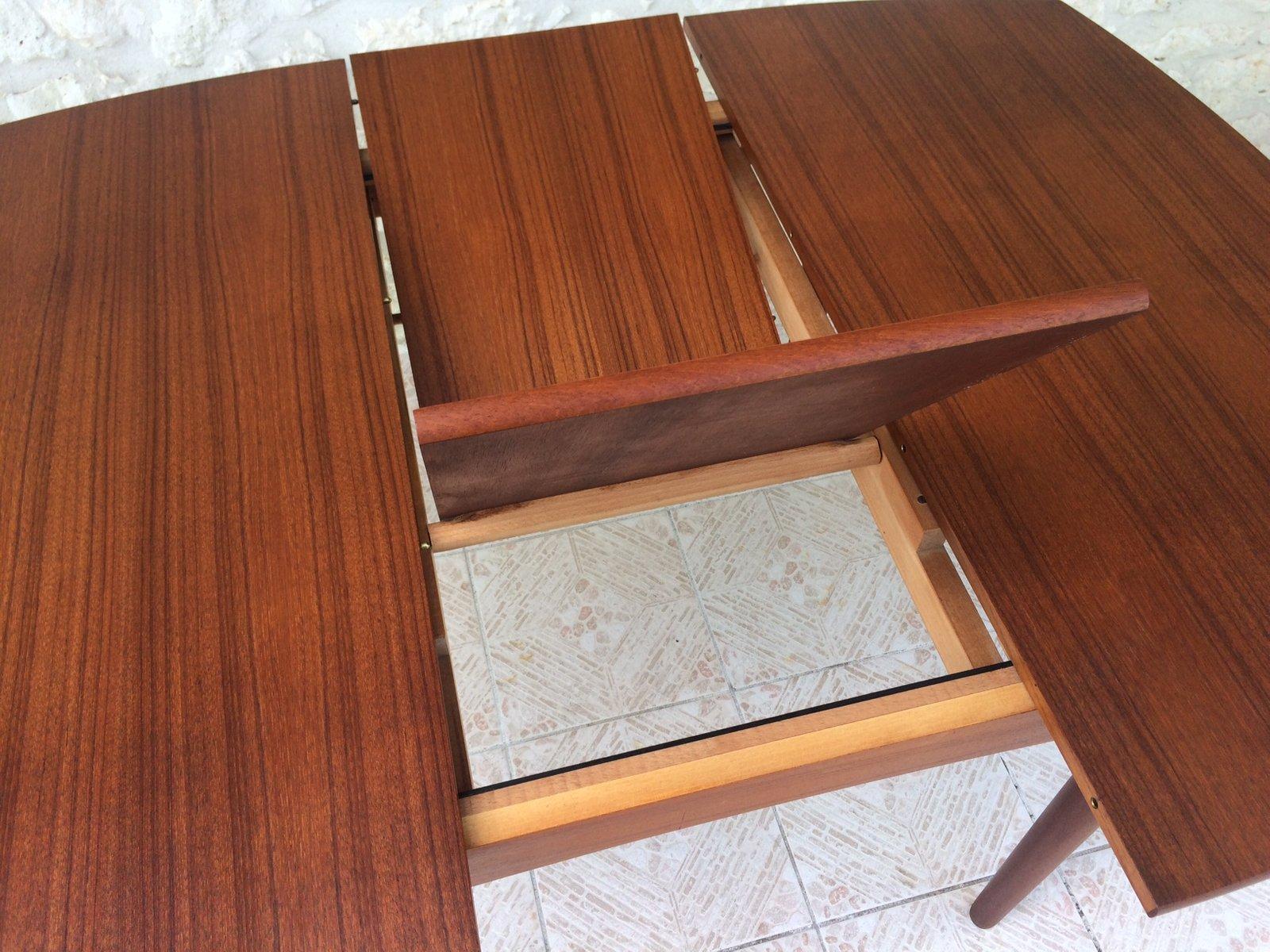 Extendable Scandinavian Teak Dining Table With Hidden