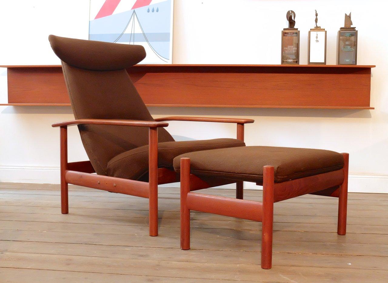 norwegischer sessel mit hocker von sven ivar dysthe f r dokka m bler bei pamono kaufen. Black Bedroom Furniture Sets. Home Design Ideas
