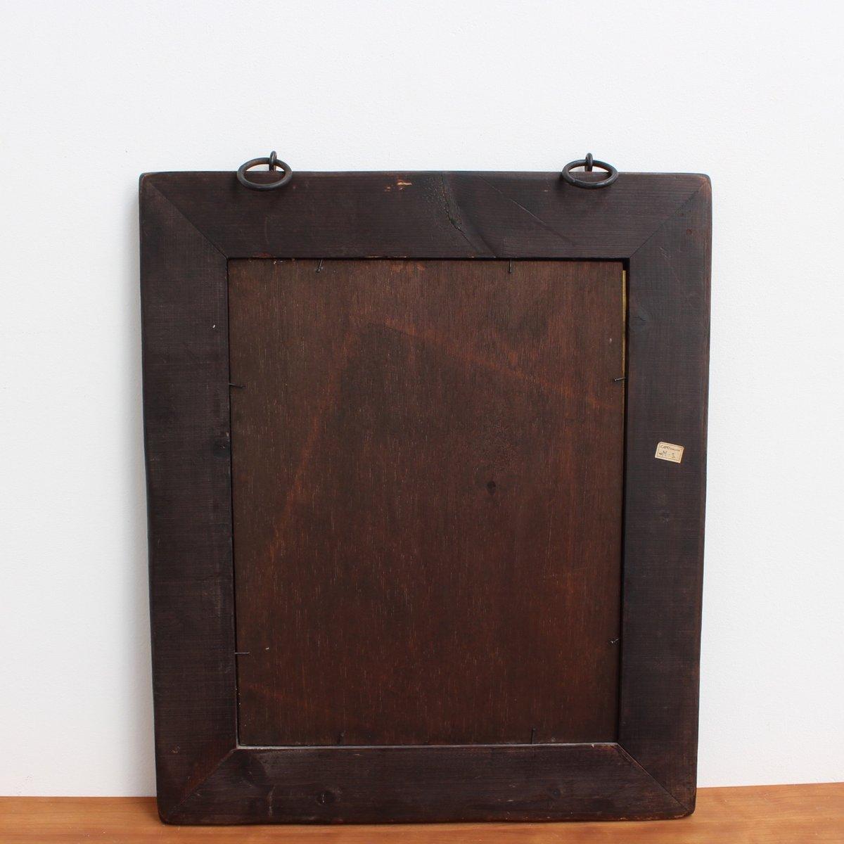 vintage holz spiegel mit emaille und kupfer von capo esmaltes bei pamono kaufen. Black Bedroom Furniture Sets. Home Design Ideas