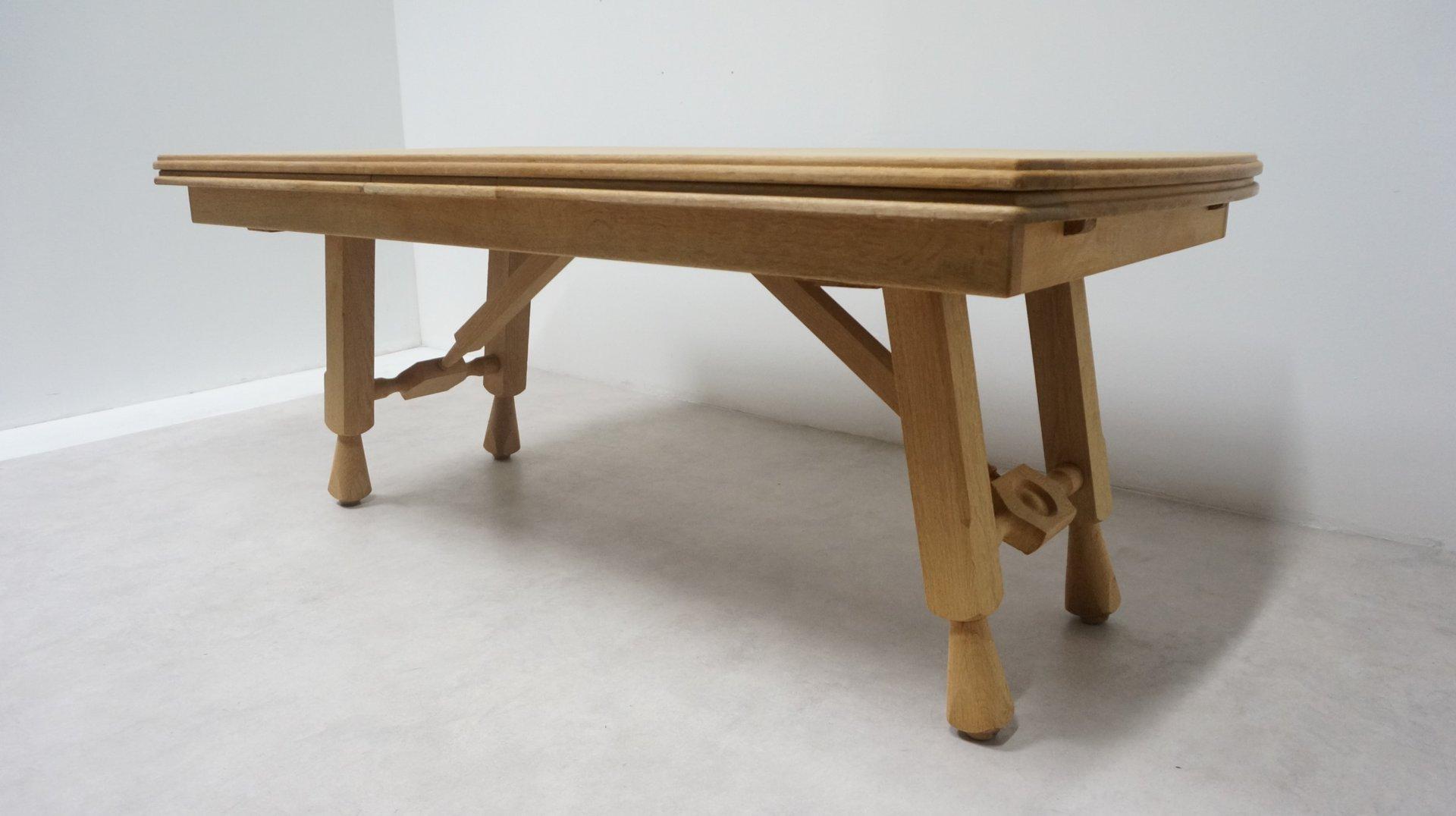Vintage Light Oak Extendable Dining Table By Guillerme Et Chambron