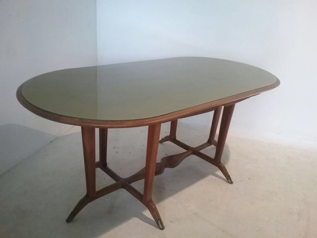 Vintage Glass and Wood Dining Table for sale at Pamono