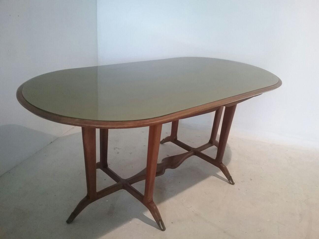 Tavolo Da Pranzo Vintage In Legno E Vetro In Vendita Su Pamono