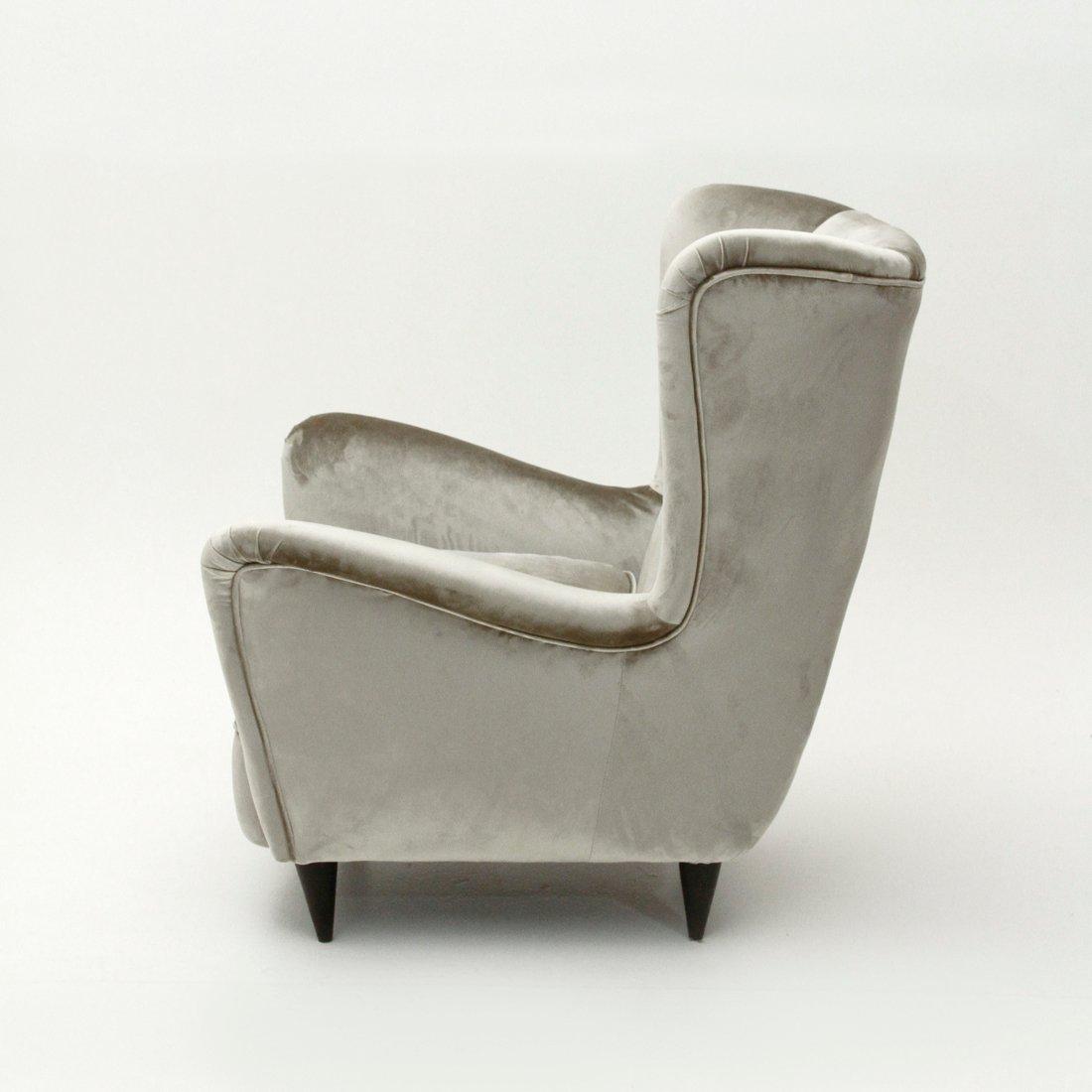grauer samt sessel 1950er bei pamono kaufen. Black Bedroom Furniture Sets. Home Design Ideas