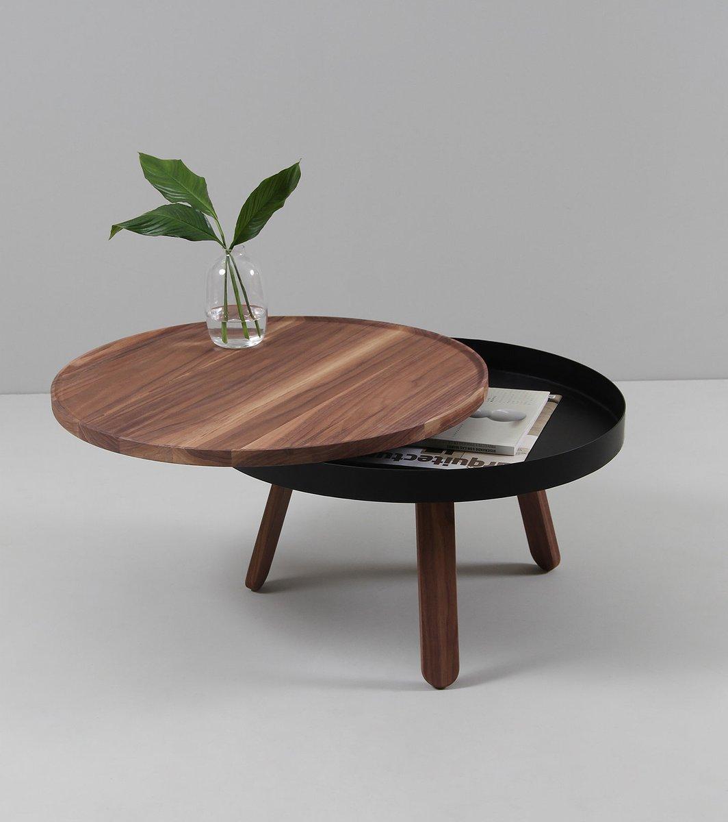 Dark Wood Coffee Table With Storage Uk: Medium Walnut-Black Batea Coffee Table With Storage By