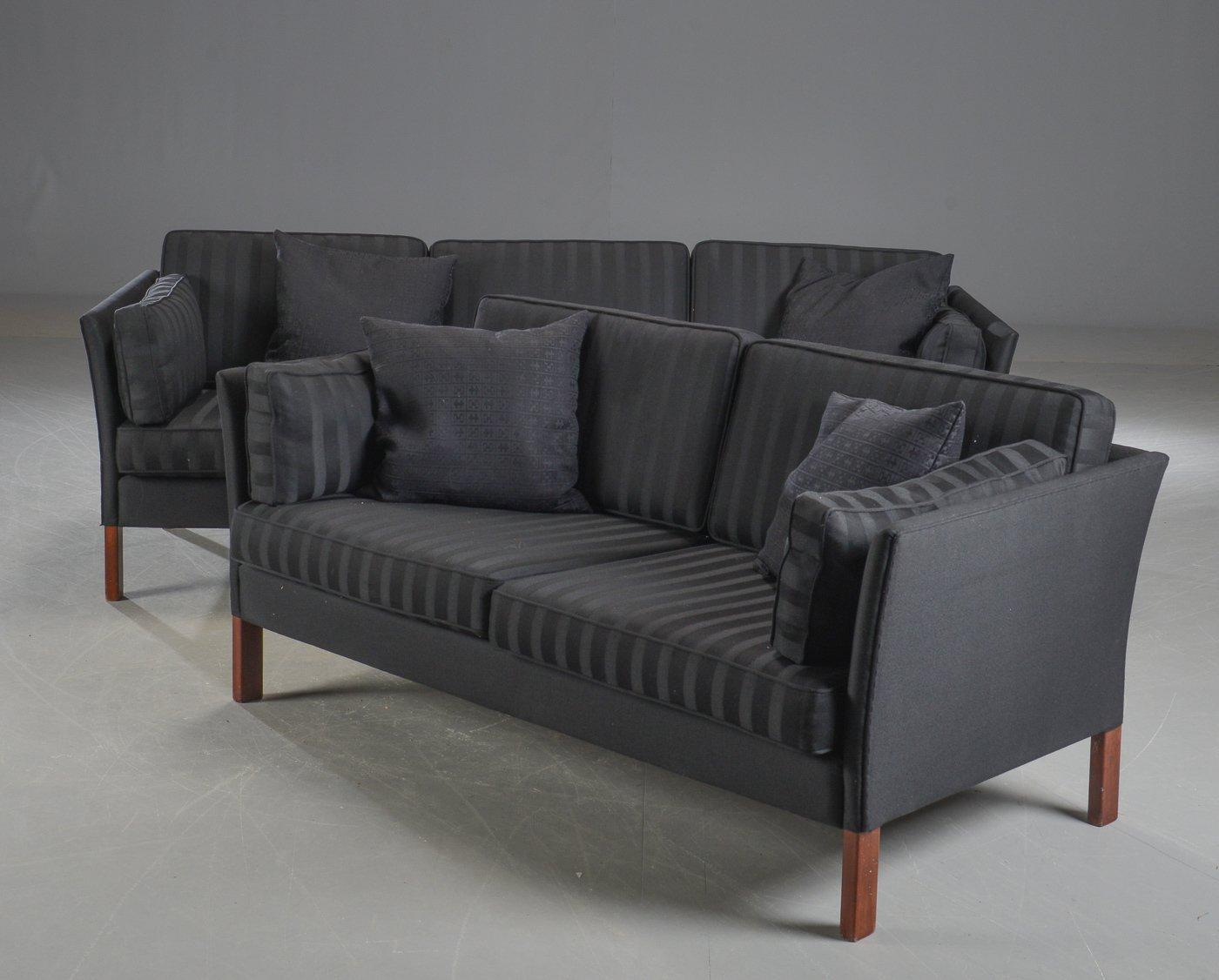Dänische Vintage Sofas in Schwarz von Erik Jørgensen, 2er Set