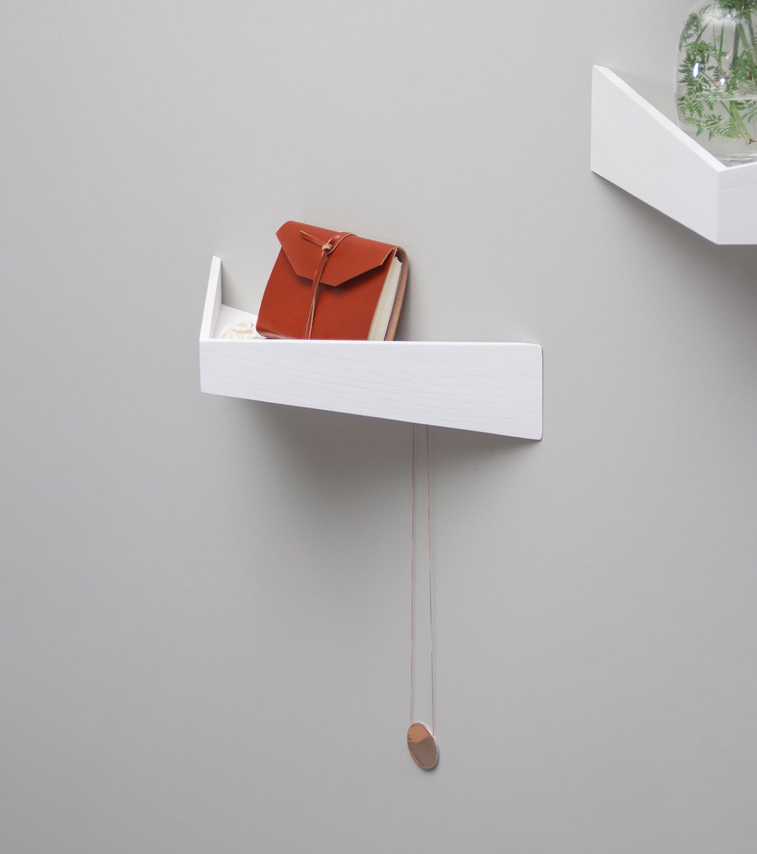 small white pelican shelf with hidden hooks by daniel garc a s nchez for woodendot for sale at. Black Bedroom Furniture Sets. Home Design Ideas