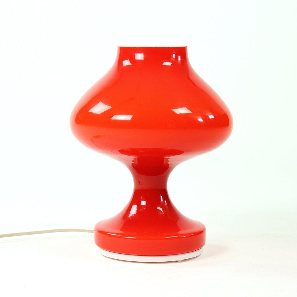 Rote Mid-Century Opalglas Tischlampe von Stefan Tabery für OPP Jihlava...