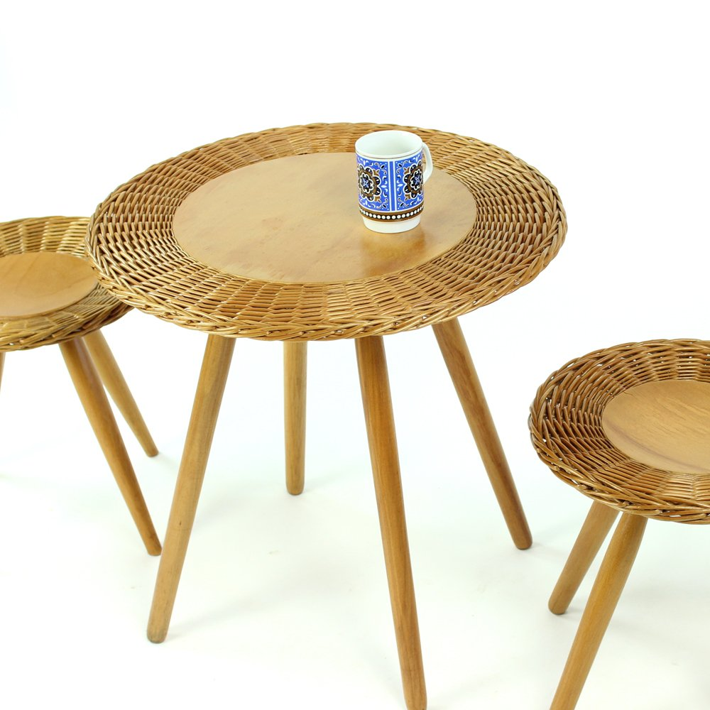 Wicker Coffee Table With Two Stools From ÚĽUV, 1960s For