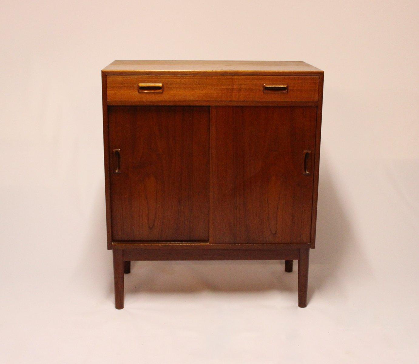 Teak Kitchen Cabinet Doors: Danish Teak Cabinet With Sliding Doors, 1960s For Sale At