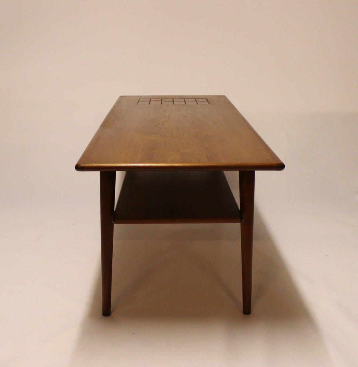 Dark Teak Coffee Table: Danish Teak Coffee Table With Dark-Colored Tiles, 1960s
