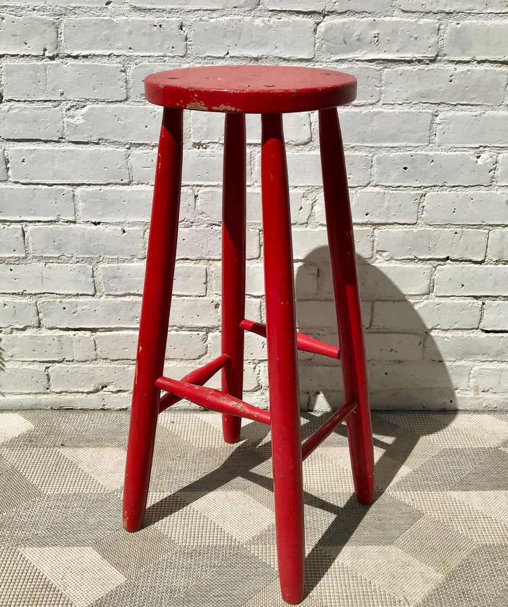 Vintage Red Painted Wood Bar Stool For Sale At Pamono