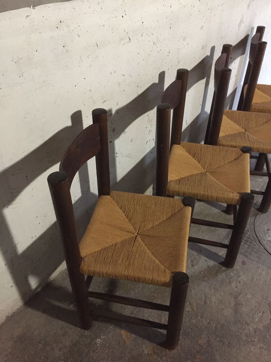 esszimmerst hle aus holz mit geflochtenen sitzen 1960er