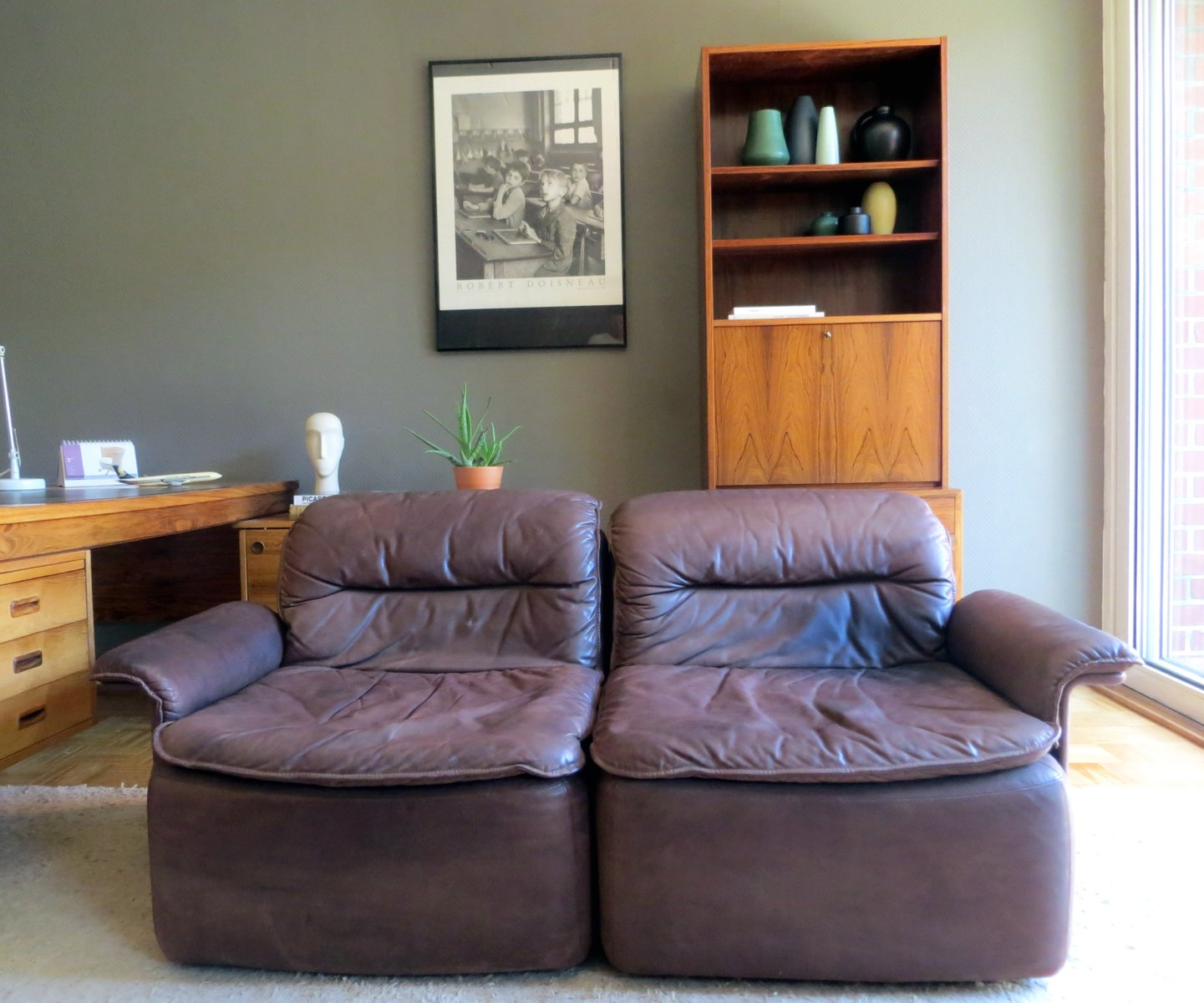 Vintage Modular Leather Sofa From Laauser 1970s