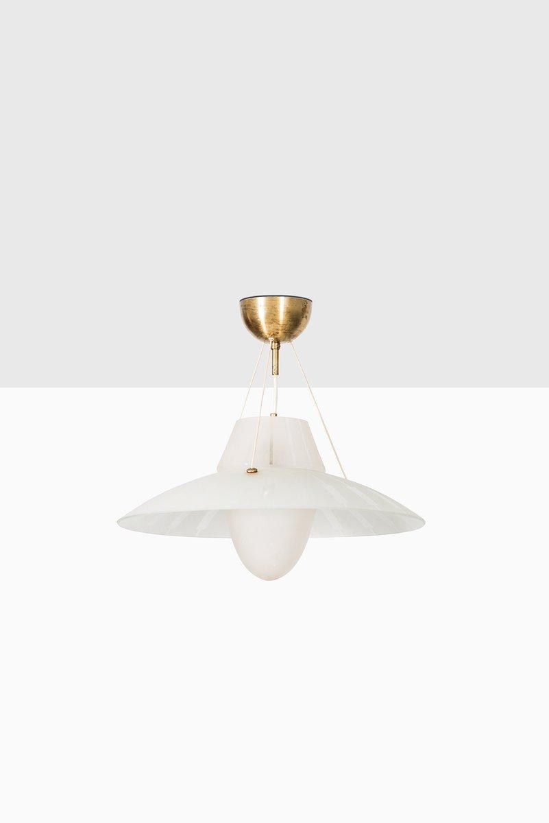Deckenlampe aus Messing & geätztem Glas, 1950er