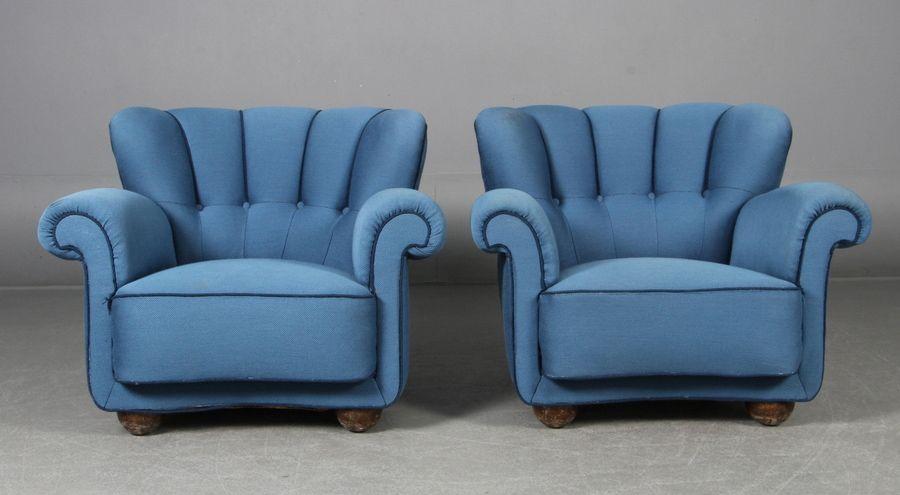 Niedrige Sessel aus blauer Wolle, 1940er, 2er Set