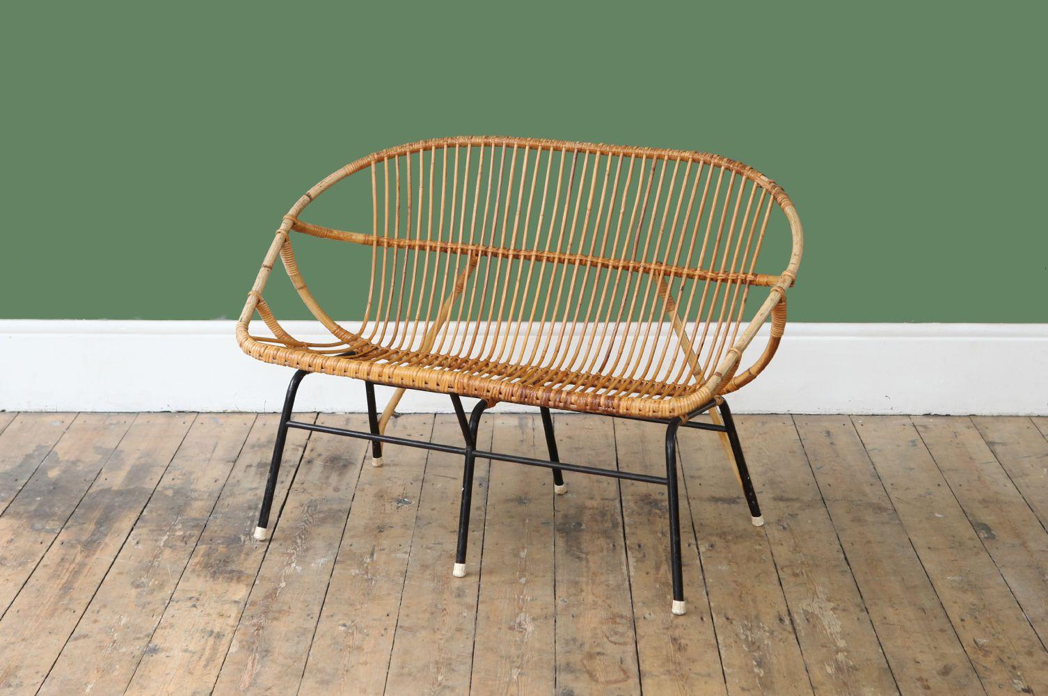canap 2 places vintage en rotin bambou de roh noordwolde en vente sur pamono. Black Bedroom Furniture Sets. Home Design Ideas