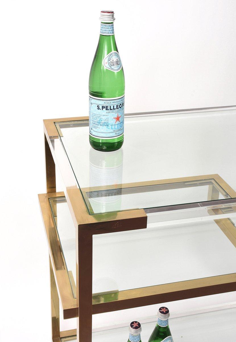 konsolentisch aus acrylglas glas vergoldetem messing von romeo rega 1970er bei pamono kaufen. Black Bedroom Furniture Sets. Home Design Ideas