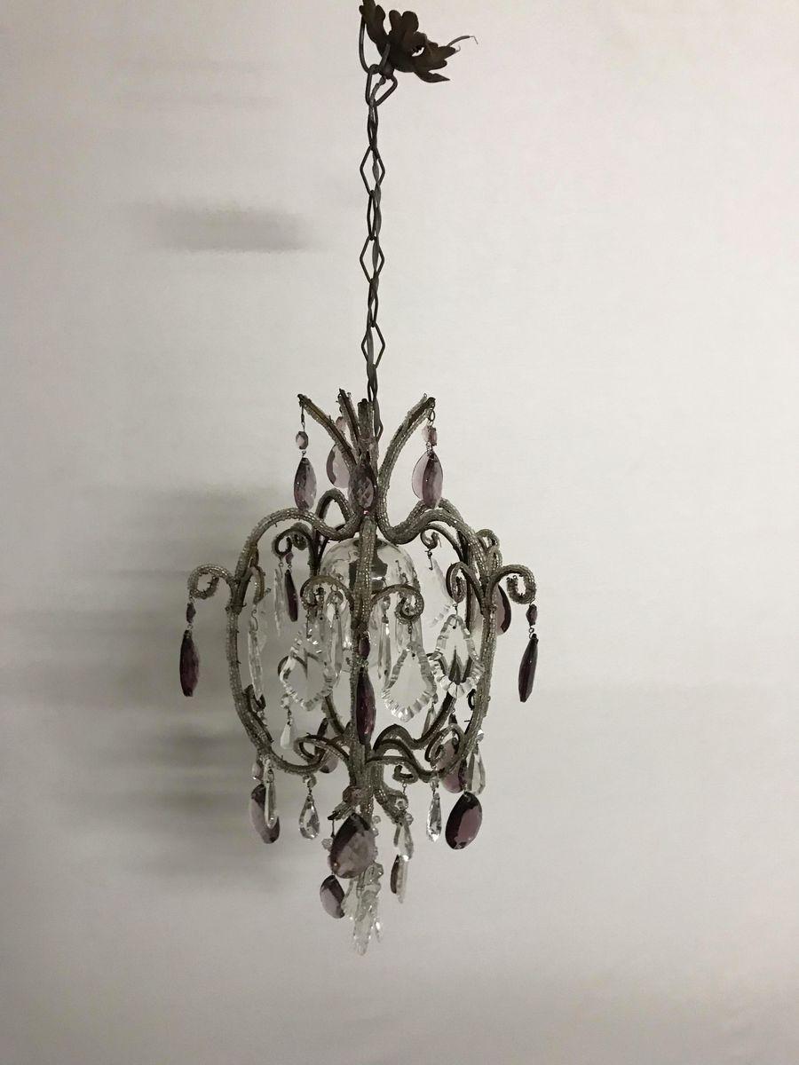 Vintage Kristallglastropfen Kronleuchter