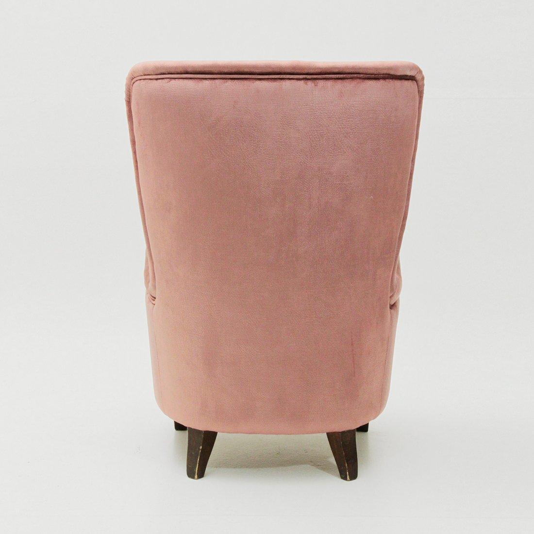italienischer rosa samt sessel 1950er bei pamono kaufen. Black Bedroom Furniture Sets. Home Design Ideas