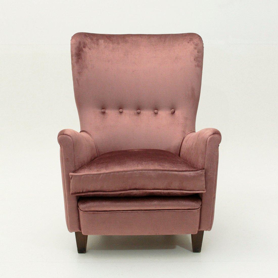 fauteuil en velours rose italie 1950s en vente sur pamono. Black Bedroom Furniture Sets. Home Design Ideas