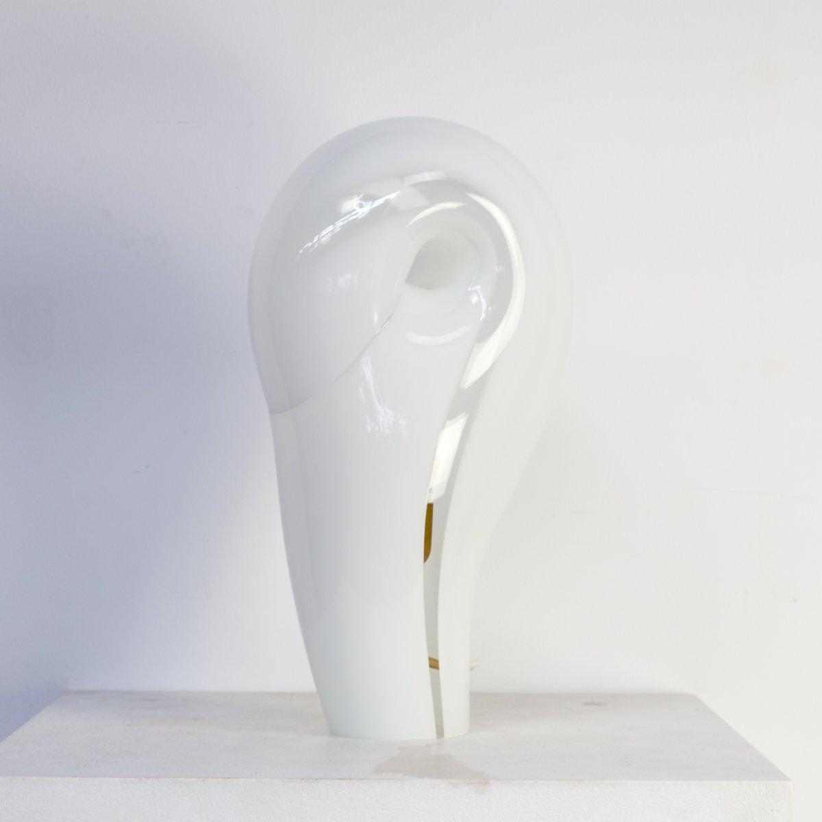 Glas Tischlampe, 1980er
