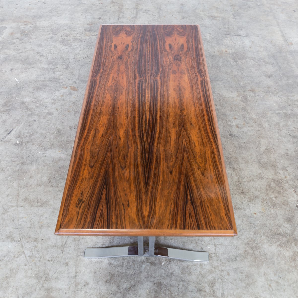 Vintage Rosewood & Chrome Coffee Table, 1970s For Sale At