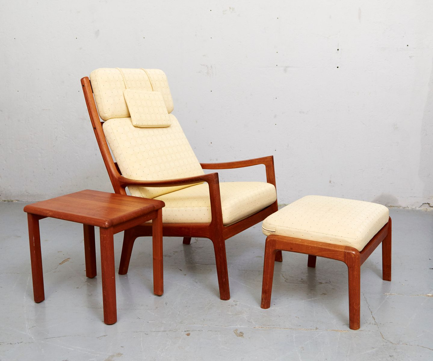 Vintage Senator Lounge Chair, Ottoman U0026 Side Table By Ole Wanscher For CADO